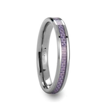 Purple Carbon Fiber Tungsten Wedding Band