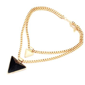 Black and Beige Double Layered Triangle Pendant Necklace