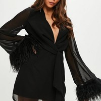 Missguided - Black Chiffon Feather Sleeve Shift Dress