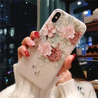 Phone Case For iPhone 7 8 Plus Rose Floral Cases Flower Silicon Protect Soft Full Cover For iPhone 6 6S XS Max XR 5 5S SE Case