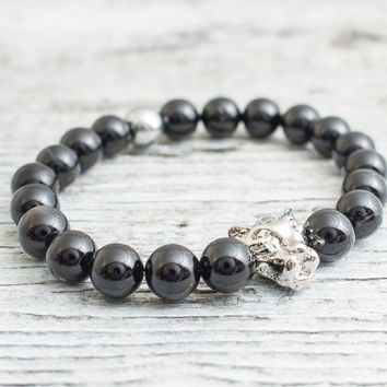 Black onyx beaded silver Leopard head stretchy bracelet with a silver plated hematite bead, mens bracelet, womens bracelet