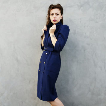 80s Royal Blue Button Front Dress With Bucket Pockets, Gold Buttons, Matching Belt