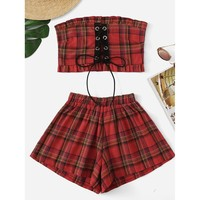 Frill Trim Plaid Tube Top With Shorts