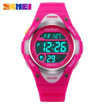 SKMEI Children Outdoor Sports Watches Boy Alarm Digital Watch Kids Stopwatch Waterproof Girls Wristwatches Clock 1077