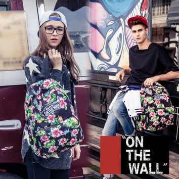 """Vans""Fashion Personality printing large capacity backpack bag leisure travel boom Black print(7 style)"
