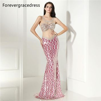 Forevergracedress Sexy Prom Dress Gorgeous Sheer Illusion Neck Long Backless Sleeveless Formal Party Gown Plus Size Custom Made