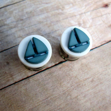 "Pair of White and Blue Nautical Sailboat Plugs - Handmade Girly Gauges - 0g, 00g, 7/16"", 1/2"" (8mm, 10mm, 11mm, 12mm)"
