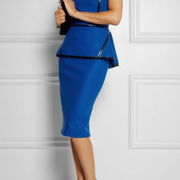 Posh Girl Royal Blue Peplum dress with leather trim