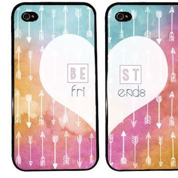 BEST FRIENDS AZTEC bff Case / Tribal Arrows Pattern Watercolor iPhone 4 Case iPhone 5 Case iPhone 4S Case iPhone 5S 5C Sunset Pattern