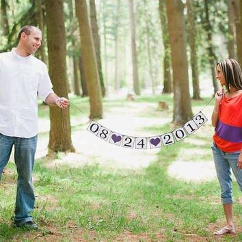 Save The Date Banner - Photo Prop Sign - Save The Date Sign - Bridal Shower Decor- Engagment photo prop