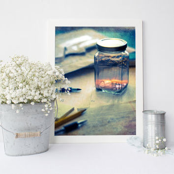 Digital download, surreal photography, summer in a jar, sunset printable, fine art photography, unique eclectic wall art, home decor, office
