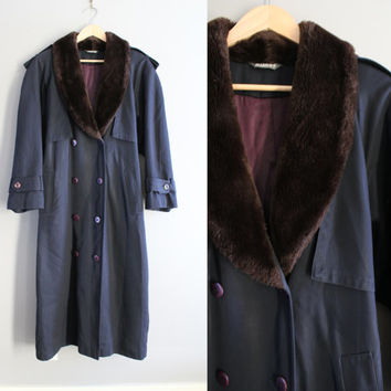 Hilary Radley Navy Blue Long Trench Coat double breasted Insulated 100% Pure Wool Faux Fur Collar Coat Vintage 90s Size S - M