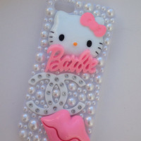 Pink & White Kitty Crystallised Bling iPhone 5 Protective Cell Phone Case Cover
