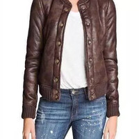 Brown Button Faux Leather Jacket