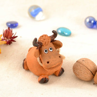 Collectible handmade interior clay statuette of Cute Cow painted with acrylics