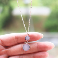 Aquamarine Necklace, Circle Necklace, Sterling Silver Circle Necklace, Long Necklace, Geometric necklace, Layering Necklace, Silver Necklace