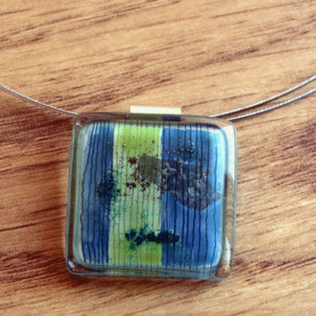 Turquoise green necklace - Fused glass necklace - Sterling silver necklace - Square pendant - Blue and lime necklace - Fused glass pendant