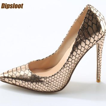 Golden Fish Leather Pointed Toe Pumps Thin Heel Stiletto