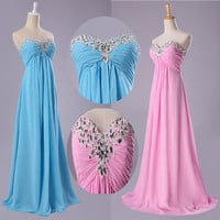 Luxury Strapless Beaded Party Prom Formal Bridesmaids Bridal Gown Evening Dress