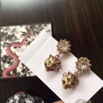 Gucci stud New arrival Electroplating of 18 K gold with retro earrings stud gold