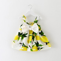 Summer New Baby Dress Infant Girl Vestido Lemon Print Clothes Slip Dress Princess Birthday Bow Dress for Kids Baby 1 Years