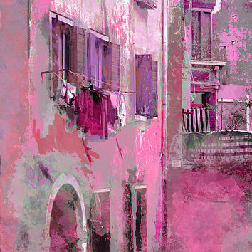 Venice Washday In Pink Print By Suzanne Powers