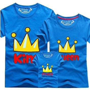 1 Piece 2017 Matching Family Clothes Mother & kids T-shirt Boys Crown 14 Color T Shirt Plus Size Mom & Me Father and Son