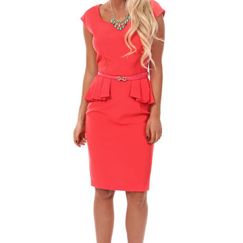 Coral Belted Peplum Dress