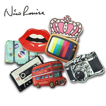 2017 Creative Cute Cartoon Coin Purse Key Chain Girl Leather Bus Camera Smile Crown TV Lipstick Zipper Change Wallet Card Holder
