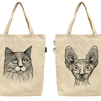 Women Cat Tattoos Printed Canvas Tote Shoulder Bag WAS_40