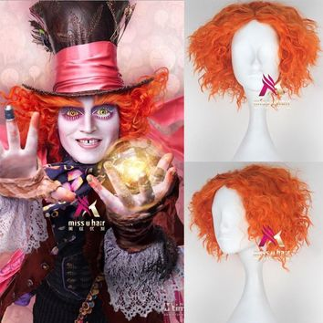 Alice in Wonderland 2 Mad Hatter Tarrant Hightopp Orange Wig Short Curly Hair Role Play Halloween