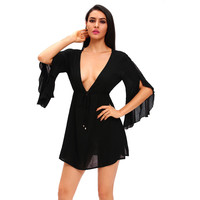 Black Flirty Bell Sleeve Swimwear LAVELIQ