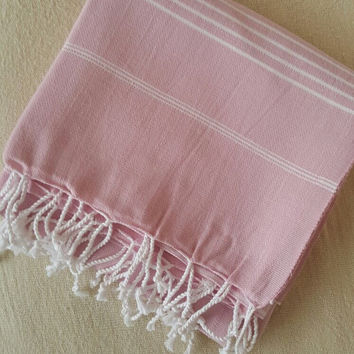 Turkish BATH and Head Towel Set: Handmade Peshtemal and Peshkir, Home Decor, Fouta, beach, spa, ecofriendly, gift, christmas, light Pink