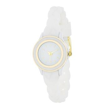 Carmen Braided Watch with White Rubber Strap