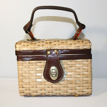 1960's Encore Woven Box Purse, Vintage Rockabilly Handbag