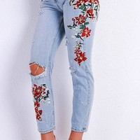 Olivia Floral Distressed Skinny Jeans
