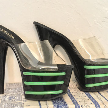 Vintage 90s Neon Green & Black Platform Pumps / PLEASER Exotic Dancer Stripper Heels / Sexy Clear PVC Platform High Heels / Goth Punk Heels