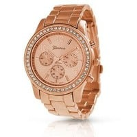 Geneva Rose Gold Plated Classic Round CZ Ladies Boyfriend Watch: Watches: Amazon.com
