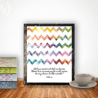 Quote Print, Printable wall art decor poster - inspirational reading dancing quotes, watercolor chevrons, digital
