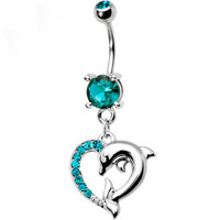 Blue Zircon Cubic Zirconia Heart Dolphin Belly Ring | Body Candy Body Jewelry