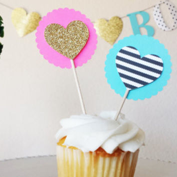 Heart cupcake/donut toppers, Kate Spade inspired!The perfect addition to any Bridal shower, birthday party, or baby shower!, gender reveal