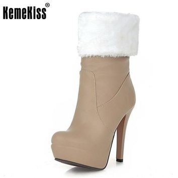 KemeKiss Size 33-43 Women Super High Heel Mid Calf Boots Women Thick Platform Slip On Shoes Women Thick Fur Warm Winter Botas