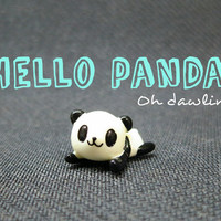 Hello Panda! Miniature Ceramic Figurine