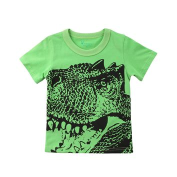 Kids Boy Baby Dinosaur Summer T-shirt Toddler Cotton Summer Animal Short Sleeve Tees Tops Clothes