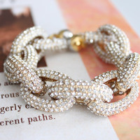 Gold Pave Link Chunky Gold Bracelet with Magnetic Clasp