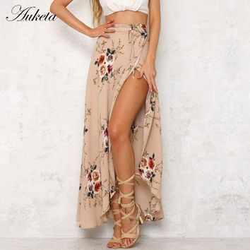 Auketa Vintage Floral Print Long Skirts Women Summer Sides Split Beach Maxi Skirt Boho High Waist Asymmetrical Skirt 2017 New