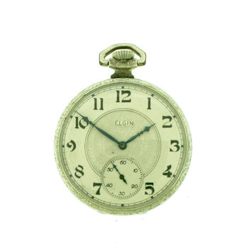 Elgin Fancy Dial Open Face Pocket Watch
