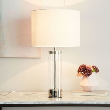 Acrylic Column Table Lamp + USB - Polished Nickel