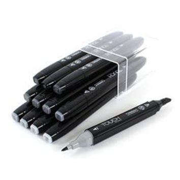 Set of 12 cold grey Touch marker