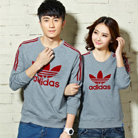 """Adidas"" Unisex Fashion Casual Stripe Clover Letter Print Long Sleeve Couple Cotton Sweater T-shirt Tops"